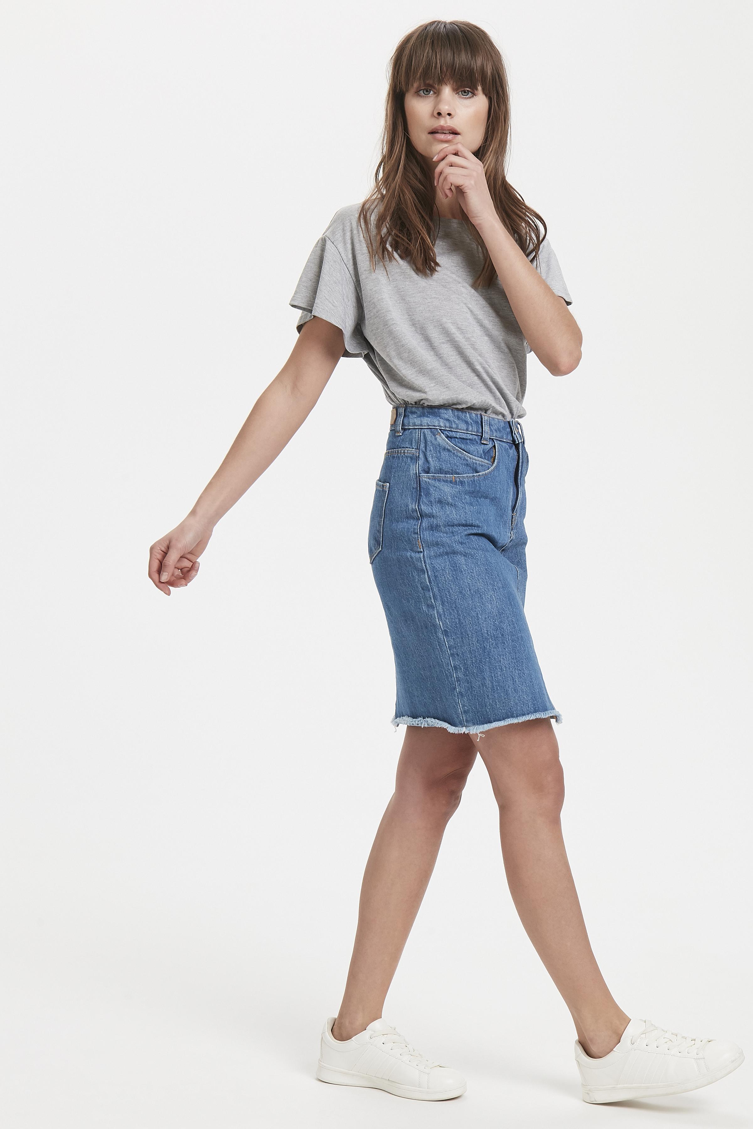 Authentic Mid Blue Denim skirt fra Ichi – Køb Authentic Mid Blue Denim skirt fra str. 34-42 her