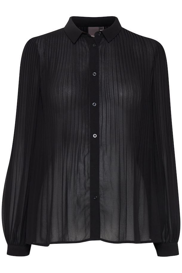 0fbd85b8ca5540 Black Blouse with long sleeve fra Ichi – Køb Black Blouse with long sleeve  fra str.