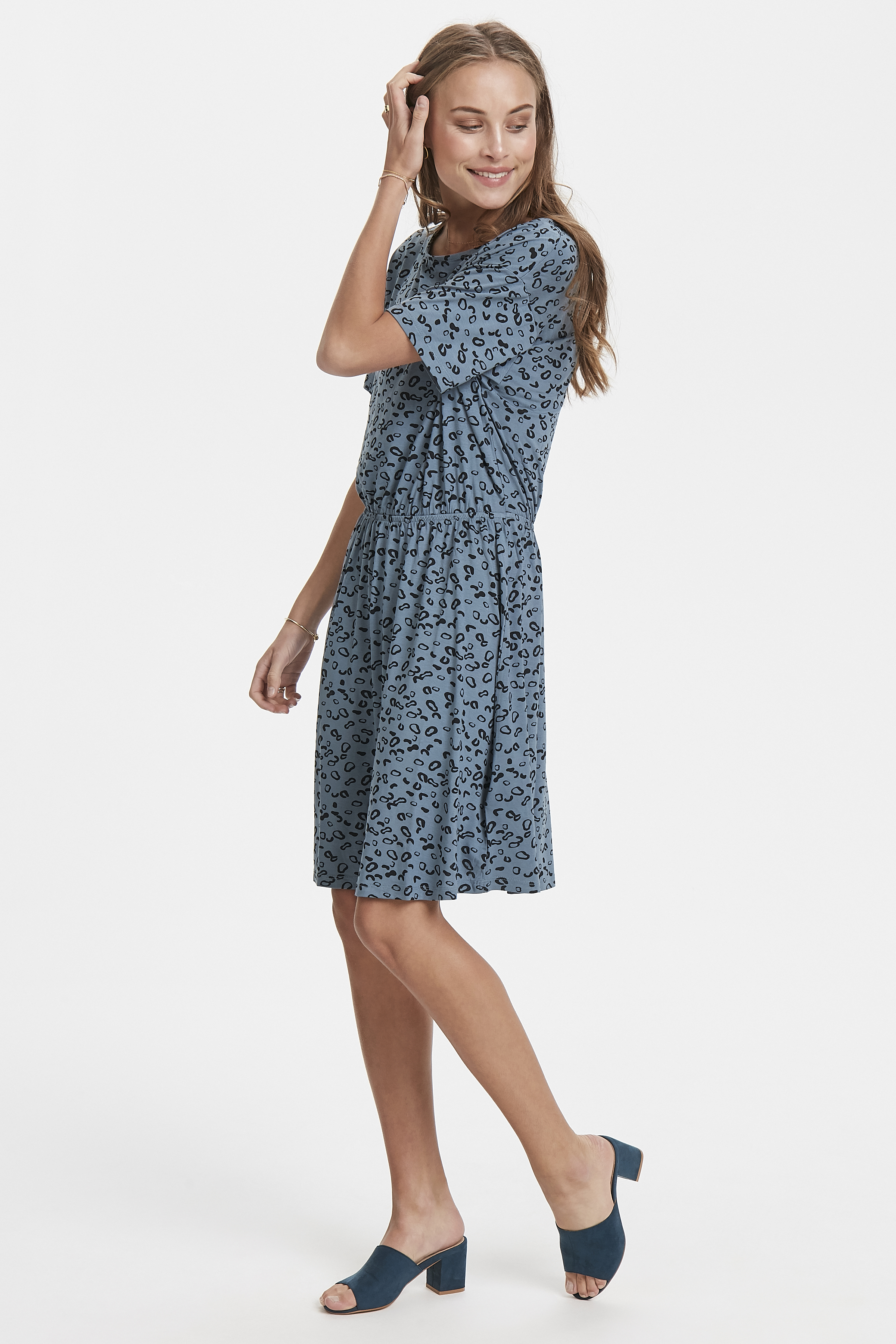 Blue Mirage Jersey dress fra Ichi – Køb Blue Mirage Jersey dress fra str. XS-XL her