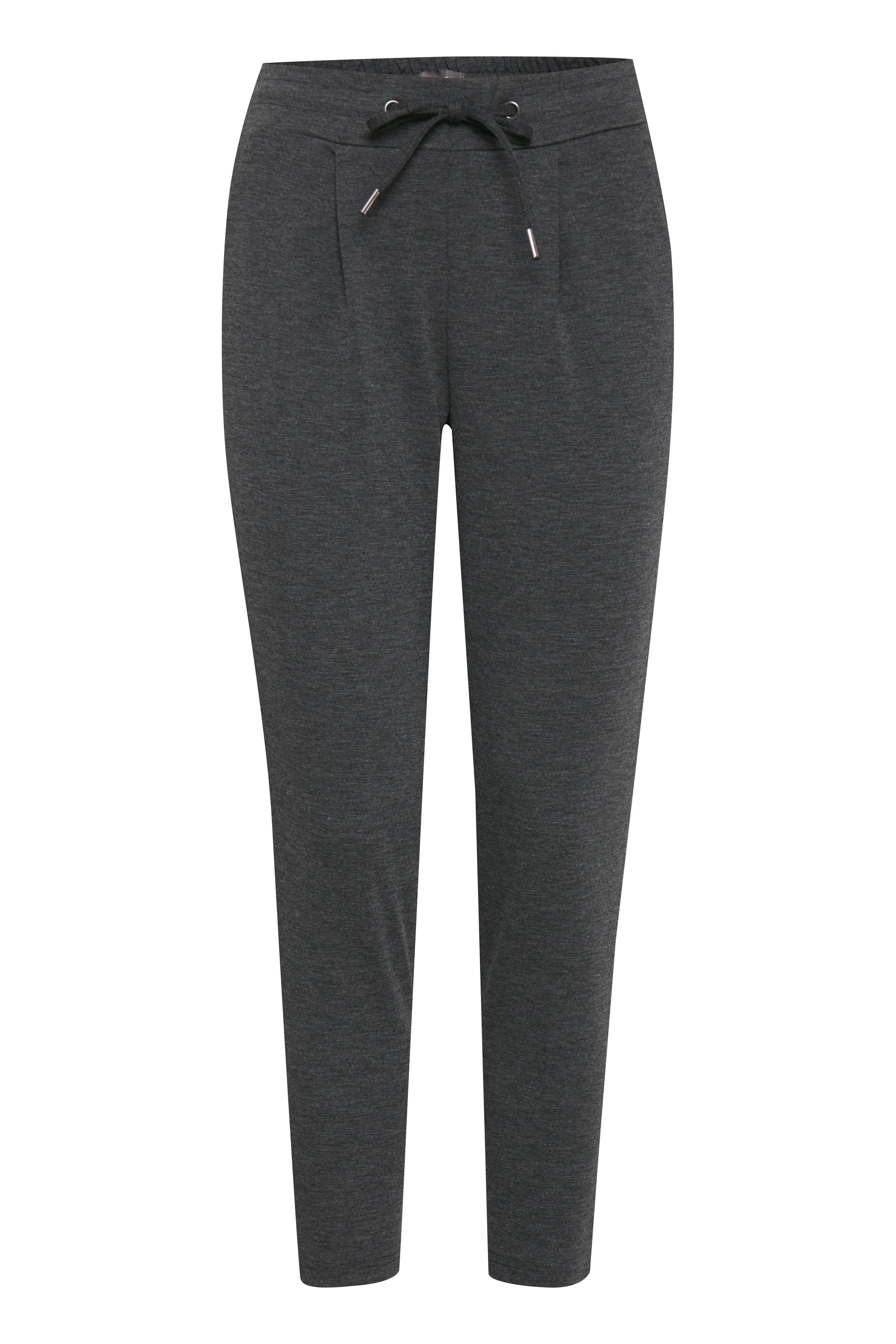 Dark Grey Melange Bukser i blød jersey - cropped længde – Køb Dark Grey Melange Bukser i blød jersey - cropped længde fra str. XS-XXL her