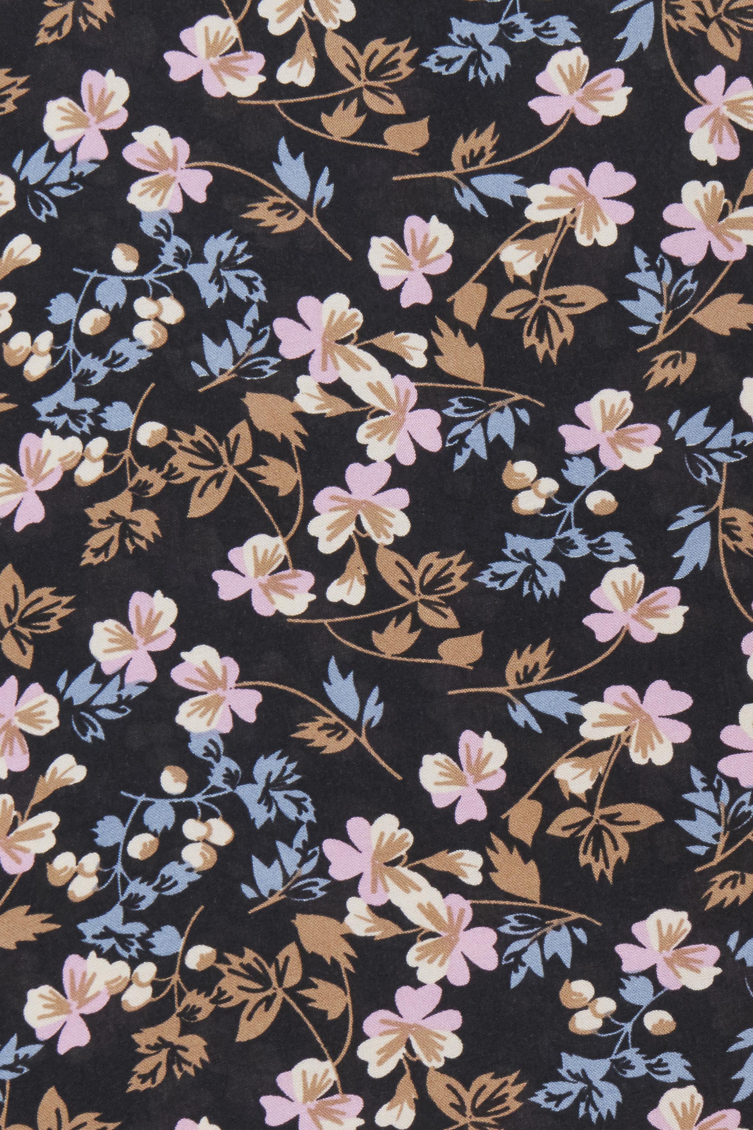 Dark Navy Flower Blomsterprintet top med korte ærmer  – Køb Dark Navy Flower Blomsterprintet top med korte ærmer  fra str. XS-XL her