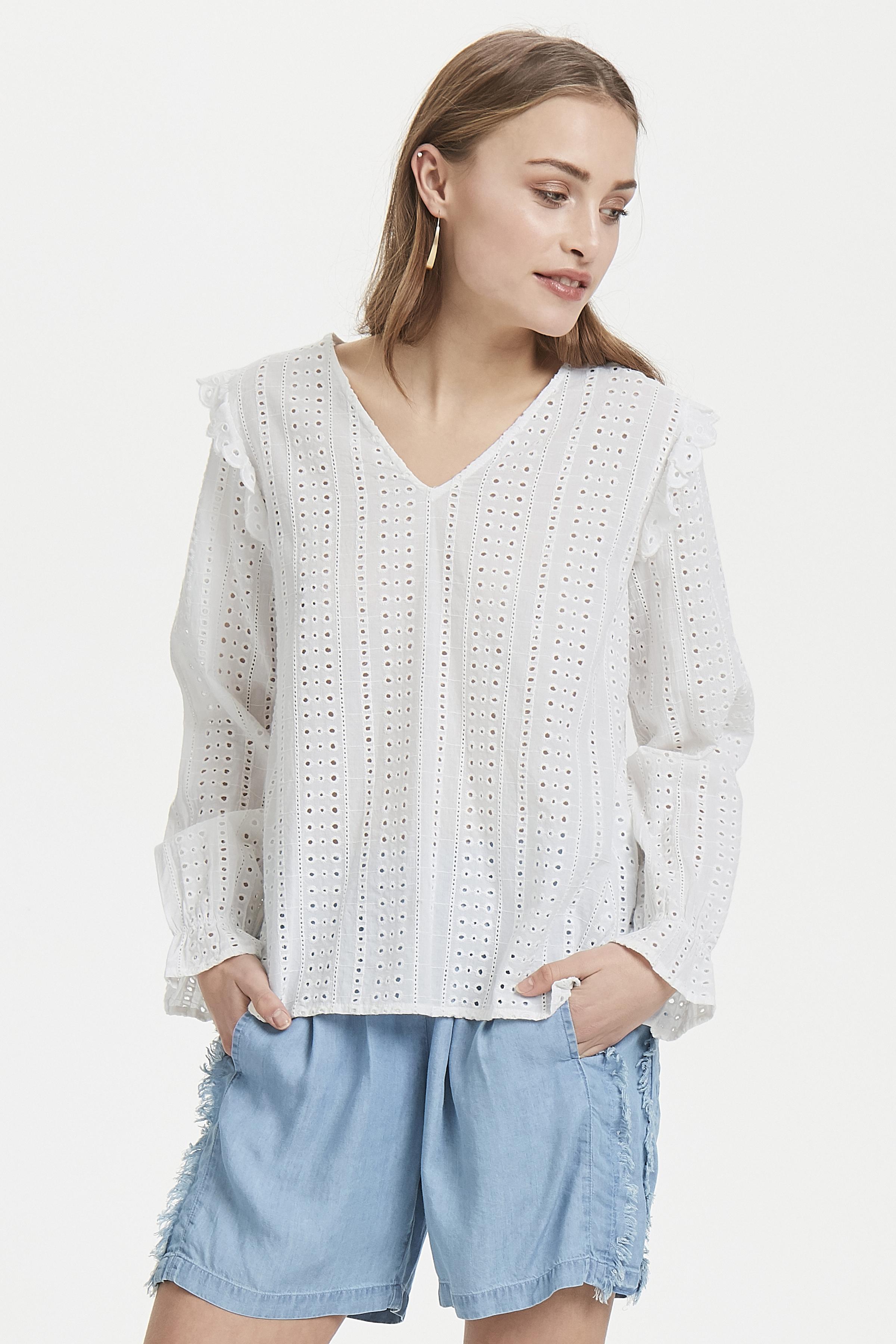White Long sleeved shirt fra Ichi – Køb White Long sleeved shirt fra str. 34-42 her